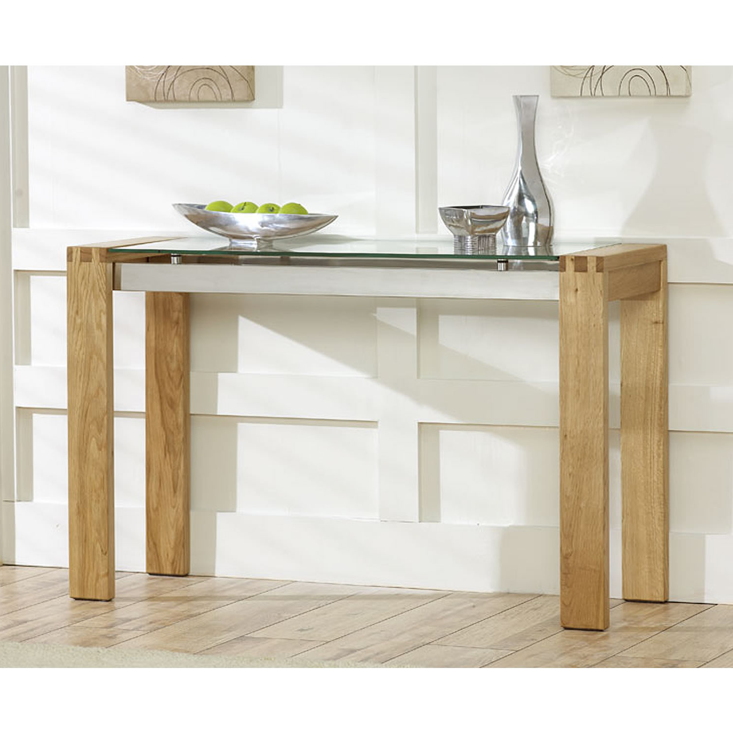 Venice Solid Oak Console Table With Glass Top Next Day Elegant Intended For Era Glass Console Tables (View 5 of 20)