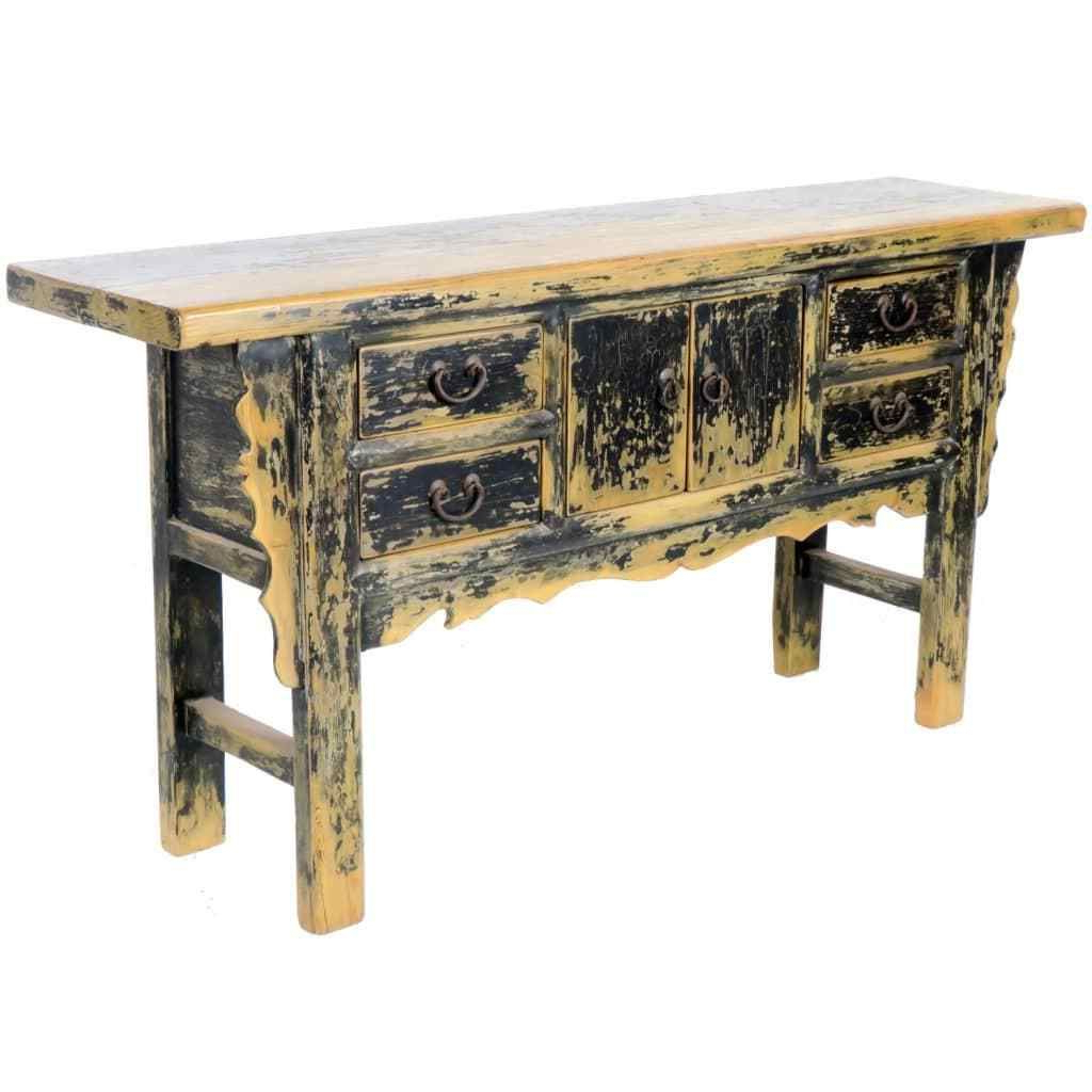 Vintage 71 Inch Long Black Asian Buffet Cabinet Table, 4 Drawer 2 Inside Balboa Carved Console Tables (View 13 of 20)