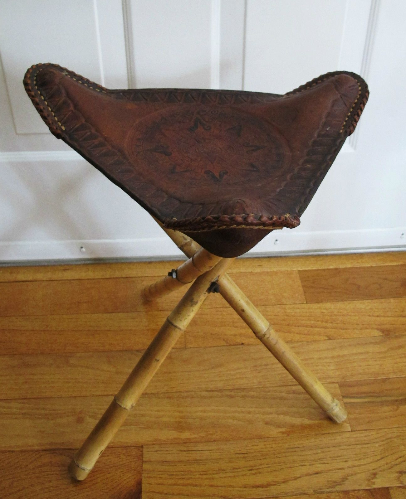 Vintage Leather Tripod Stool Stamped Hand Tooled Bamboo Fold Up Within Mix Leather Imprint Metal Frame Console Tables (View 5 of 20)