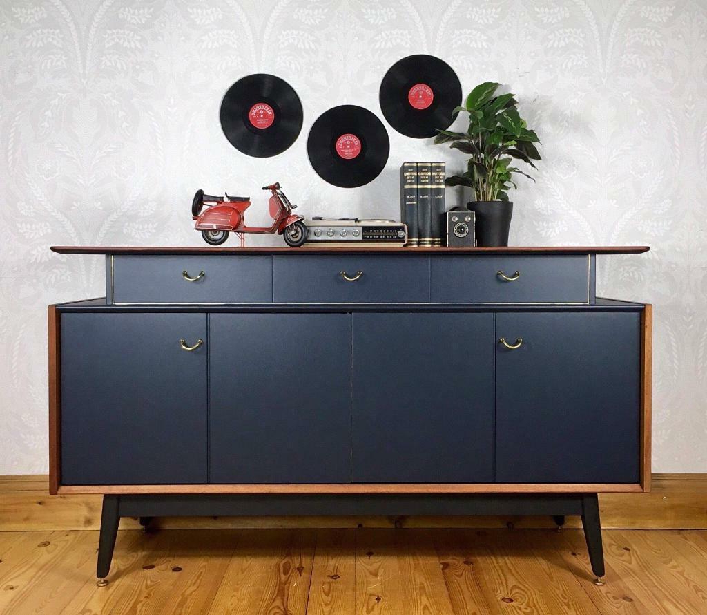 Vintage Retro G Plan Tola And Black Sideboard | In Wakefield, West Intended For Wakefield 85 Inch Tv Stands (View 7 of 20)