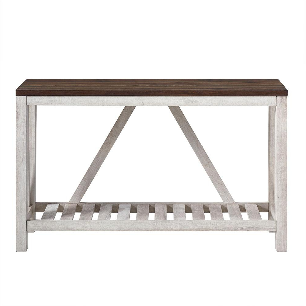 Walker Edison Furniture Company 52 In. White Oak Body A Frame Rustic For Frame Console Tables (Gallery 12 of 20)