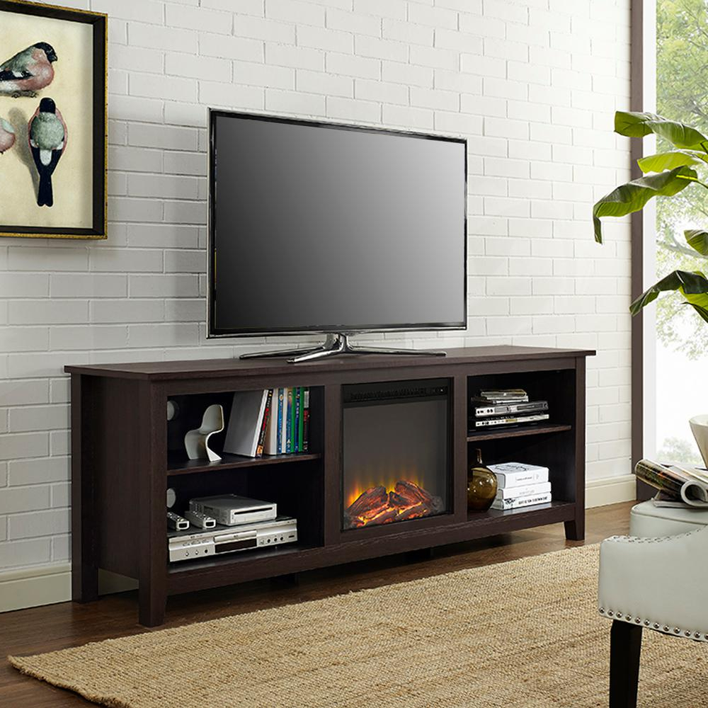 Walker Edison Furniture Company Essentials Espresso Fire Place Intended For Canyon 54 Inch Tv Stands (View 16 of 20)