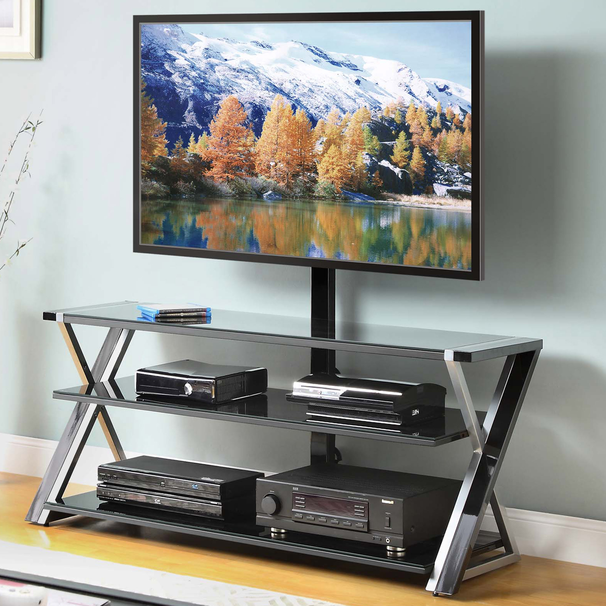 "Whalen 3 In 1 Black Tv Console For Tvs Up To 70"", Black Glass Intended For Jaxon 71 Inch Tv Stands (View 14 of 20)"