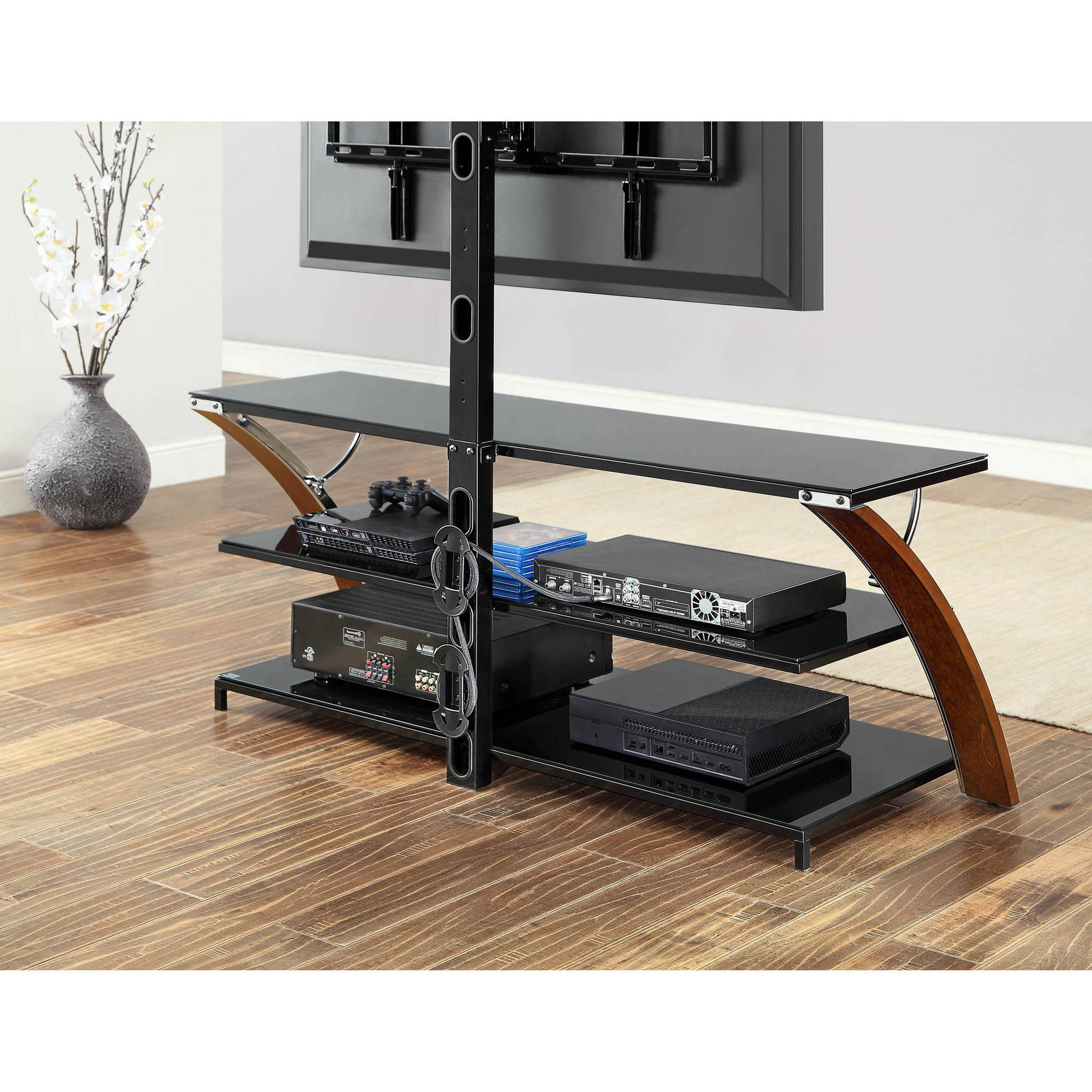 Whalen Payton Brown Cherry 3 In 1 Flat Panel Tv Stand For Tvs Up To Inside Jaxon 71 Inch Tv Stands (View 14 of 20)