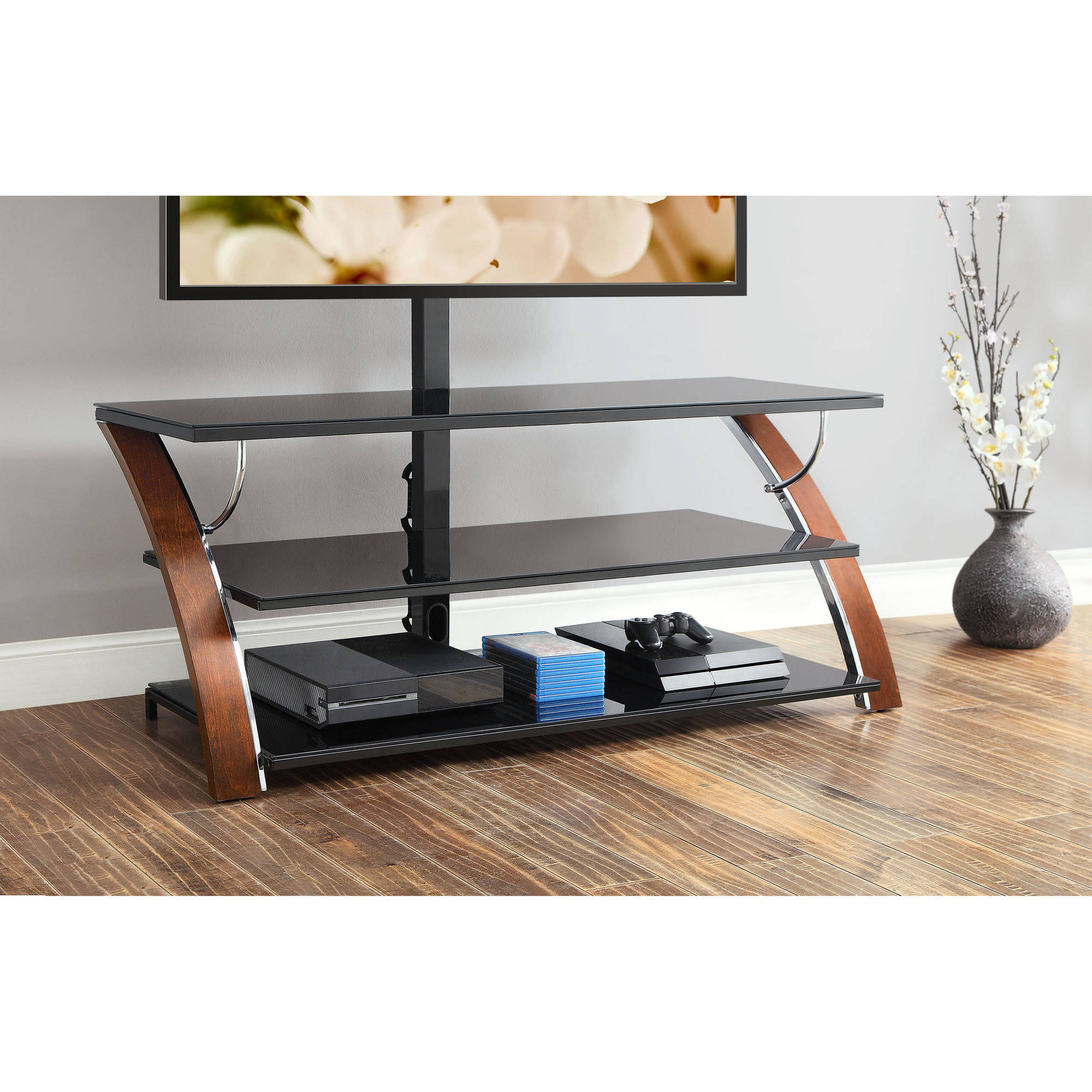 Whalen Payton Brown Cherry 3 In 1 Flat Panel Tv Stand For Tvs Up To Intended For Jaxon 71 Inch Tv Stands (View 20 of 20)