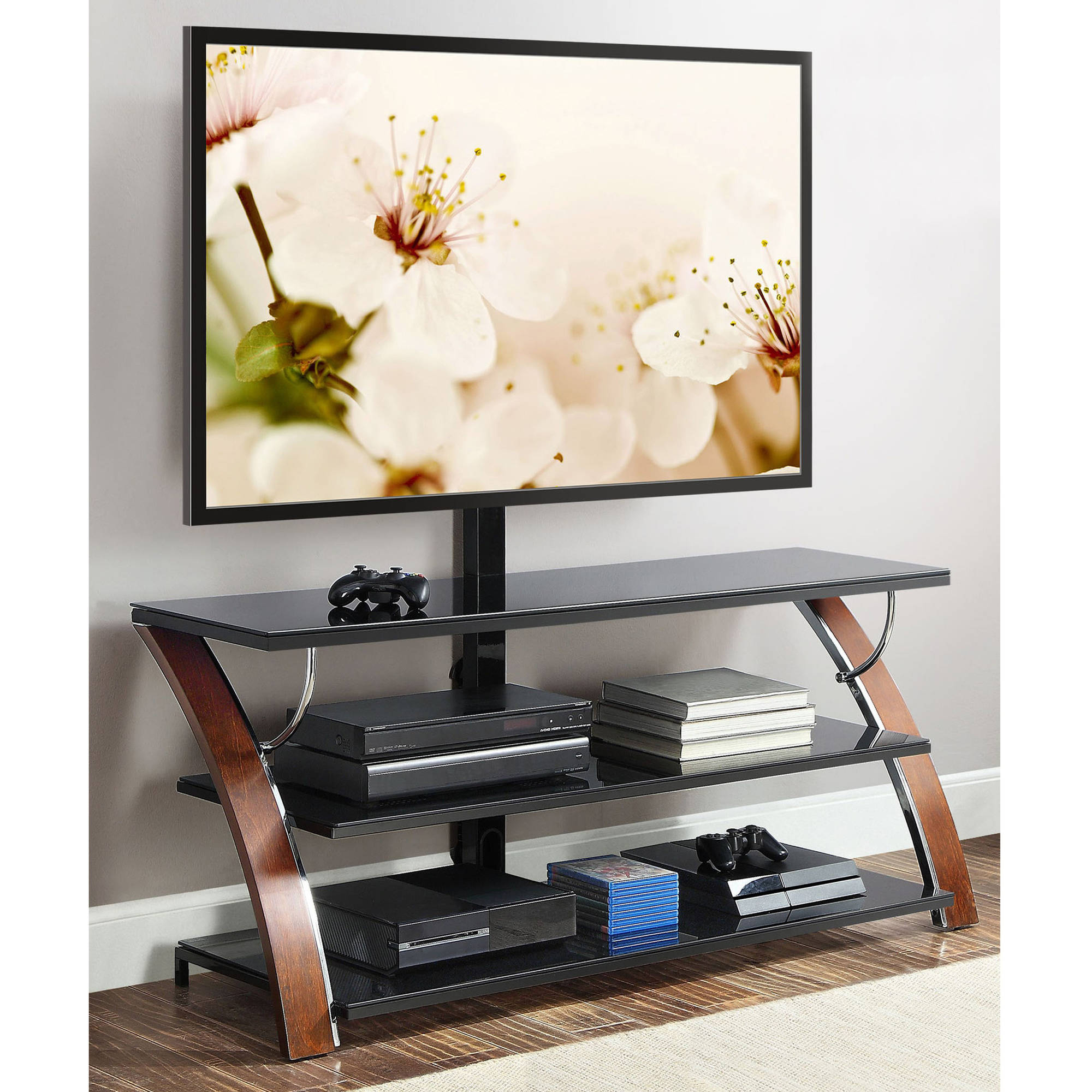 Whalen Payton Brown Cherry 3 In 1 Flat Panel Tv Stand For Tvs Up To Intended For Jaxon 71 Inch Tv Stands (View 10 of 20)