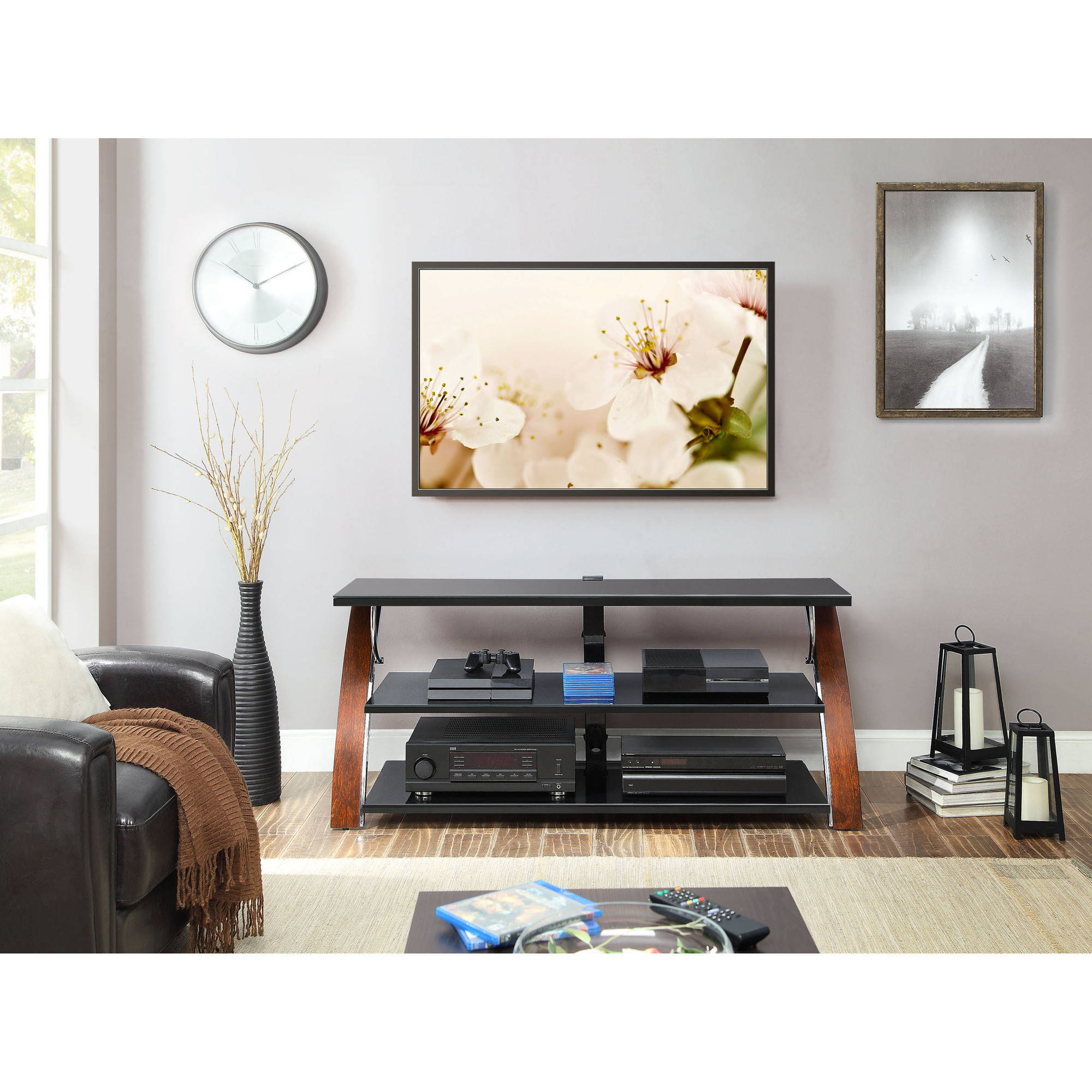 Whalen Payton Brown Cherry 3 In 1 Flat Panel Tv Stand For Tvs Up To Within Jaxon 71 Inch Tv Stands (View 20 of 20)