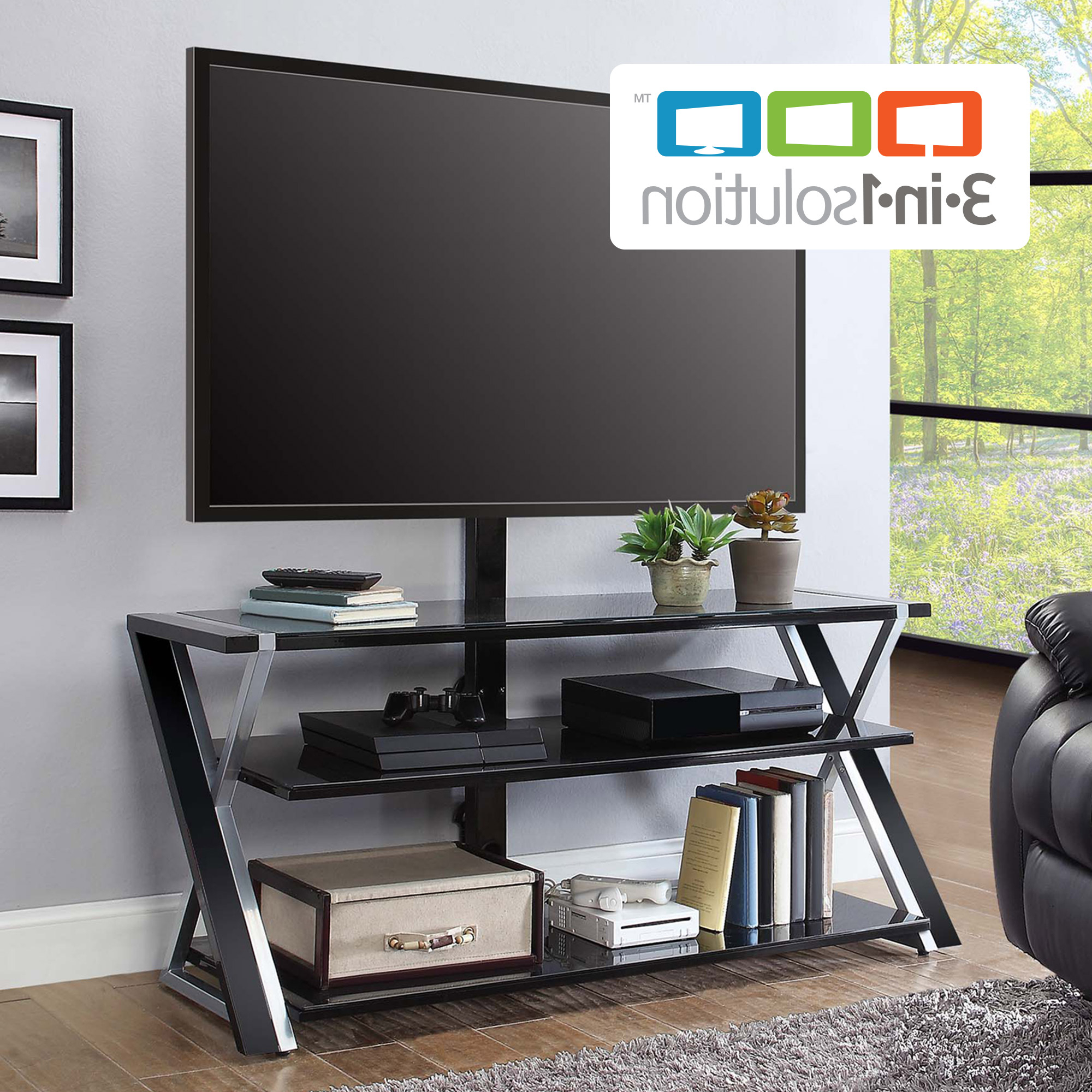 """Whalen Xavier 3 In 1 Tv Stand For Tvs Up To 70"""", With 3 Display For Walton 72 Inch Tv Stands (Gallery 19 of 20)"""