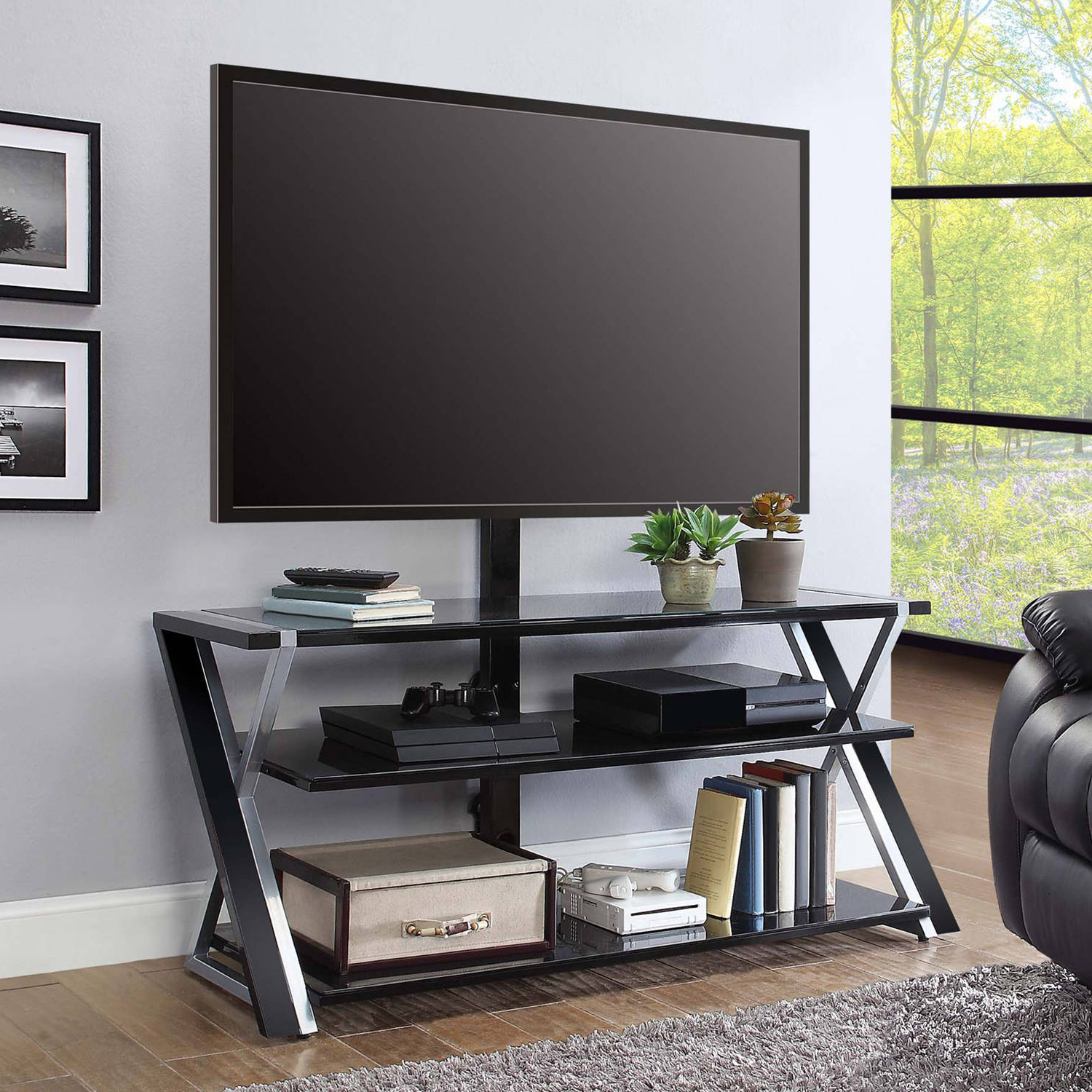 """Whalen Xavier 3 In 1 Tv Stand For Tvs Up To 70"""", With 3 Display In Walton Grey 60 Inch Tv Stands (View 19 of 20)"""
