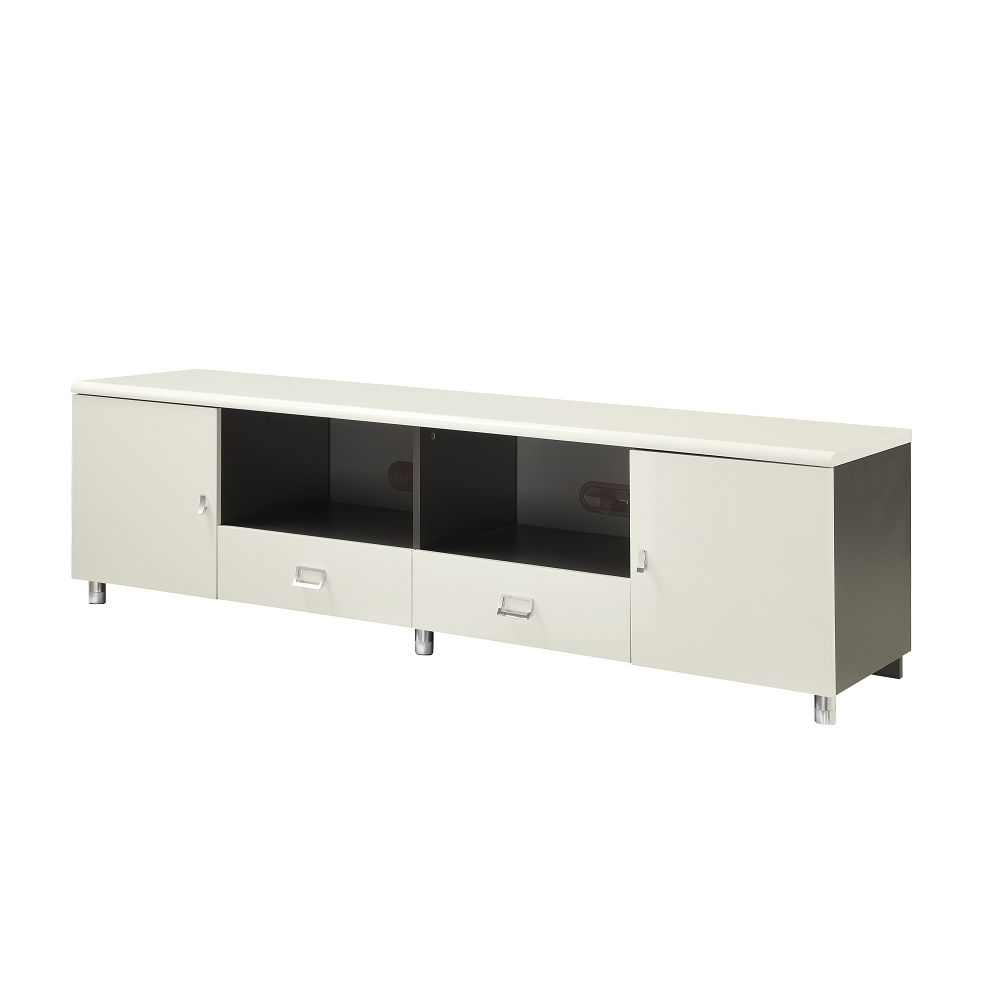 White & Gunmetal Finish Tv Console With Chrome Hardwarecoaster Pertaining To Gunmetal Media Console Tables (View 16 of 20)