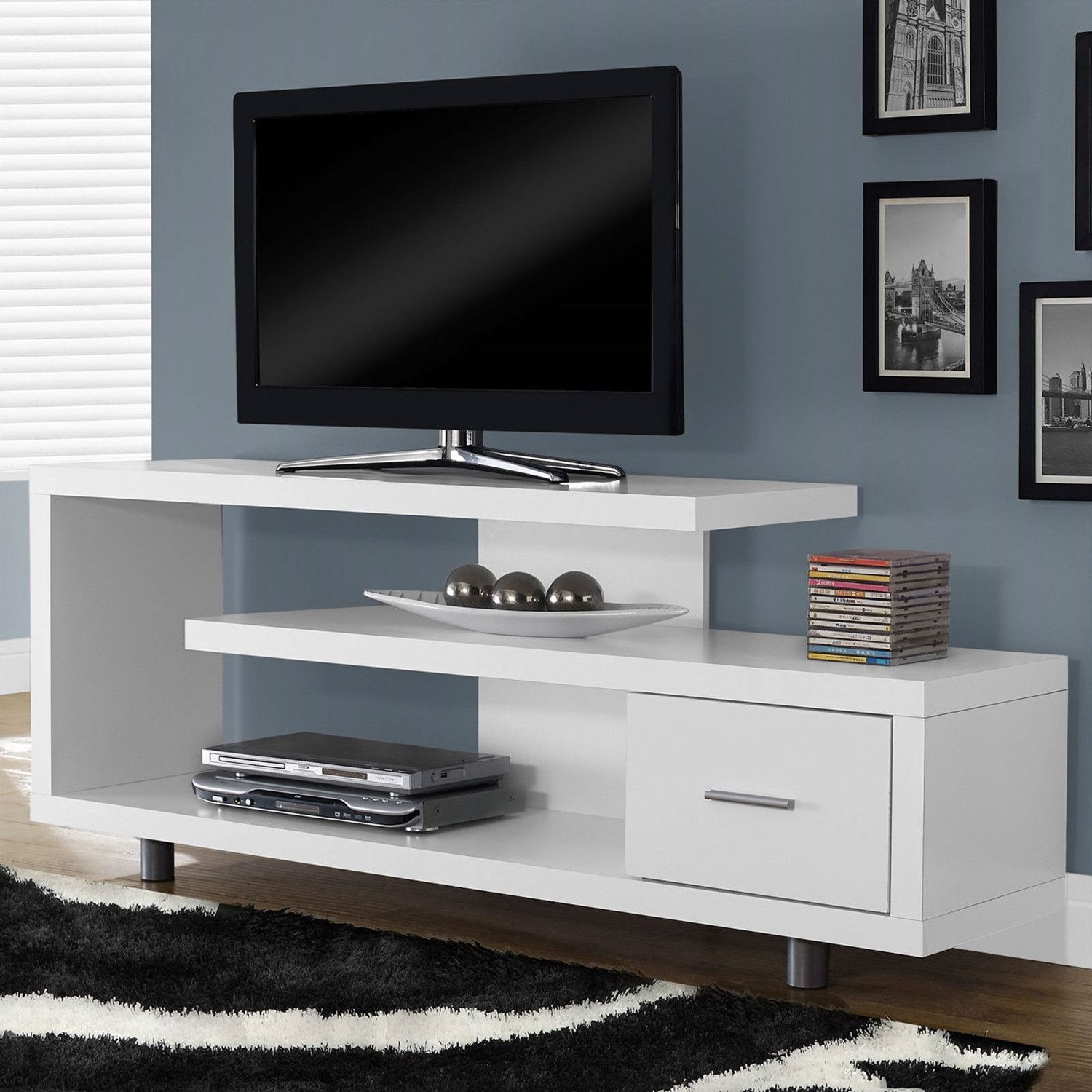White Modern Tv Stand – Fits Up To 60 Inch Flat Screen Tv Within Marvin Rustic Natural 60 Inch Tv Stands (Gallery 1 of 20)