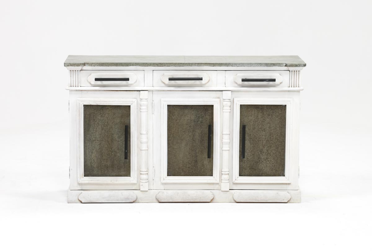 White Wash 3 Door/3 Drawer Sideboard | Living Spaces With Mikelson Media Console Tables (View 6 of 20)