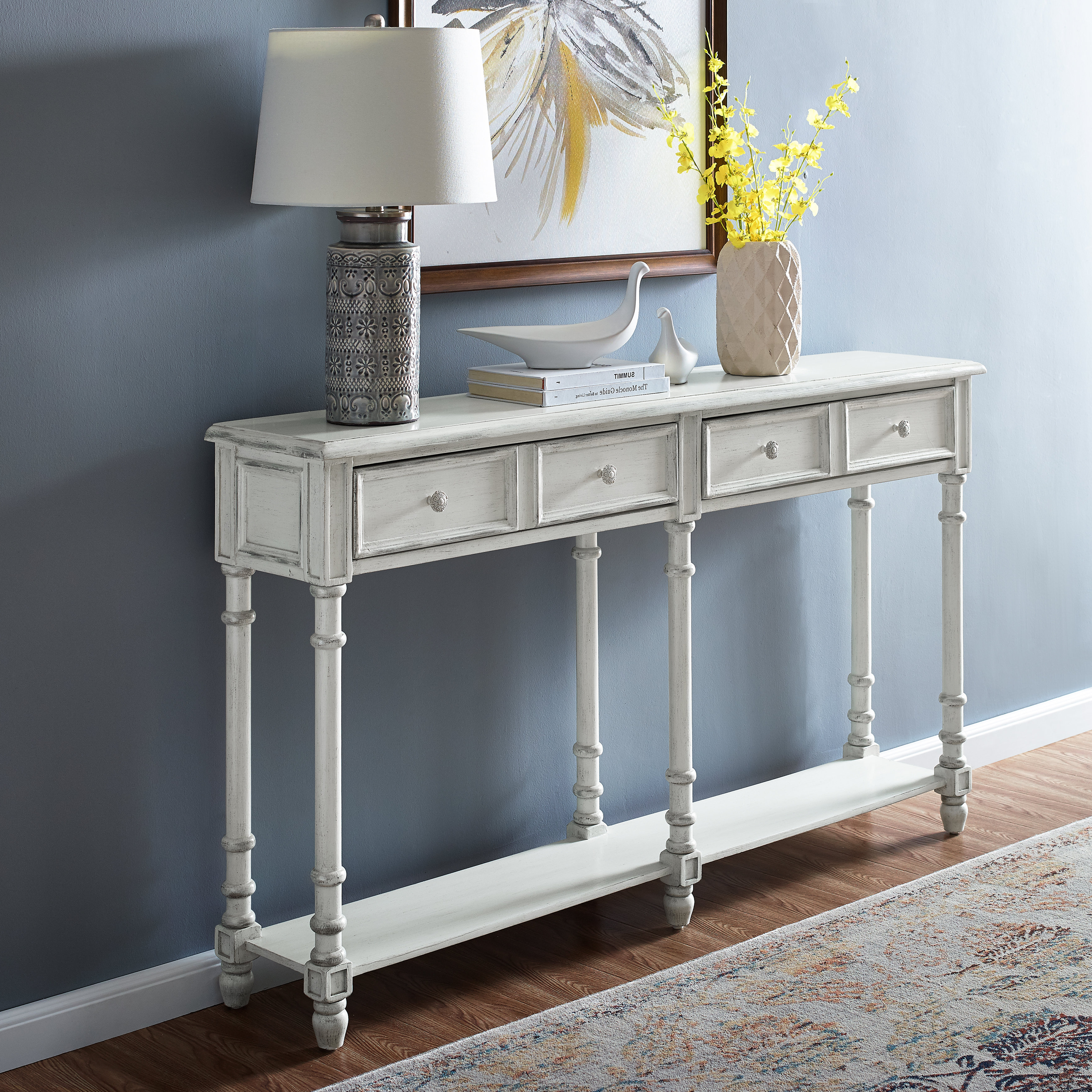 White Washed Console Table | Wayfair For Hand Carved White Wash Console Tables (View 4 of 20)