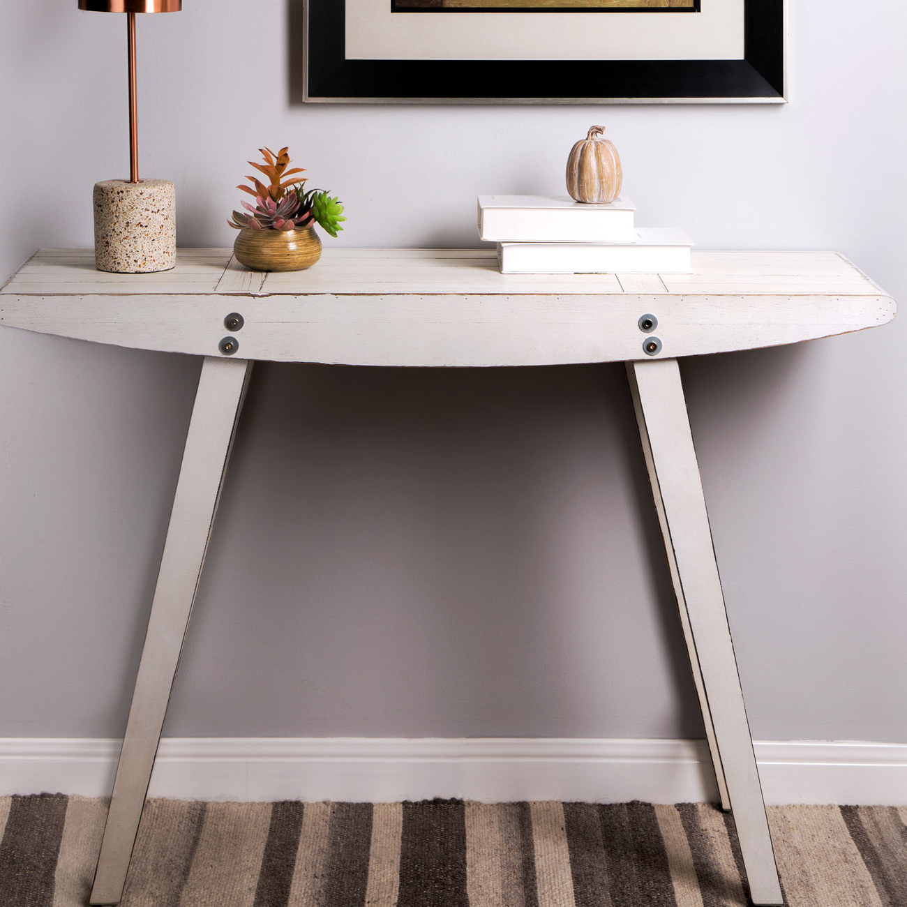 White Washed Console Table | Wayfair Throughout Hand Carved White Wash Console Tables (View 6 of 20)