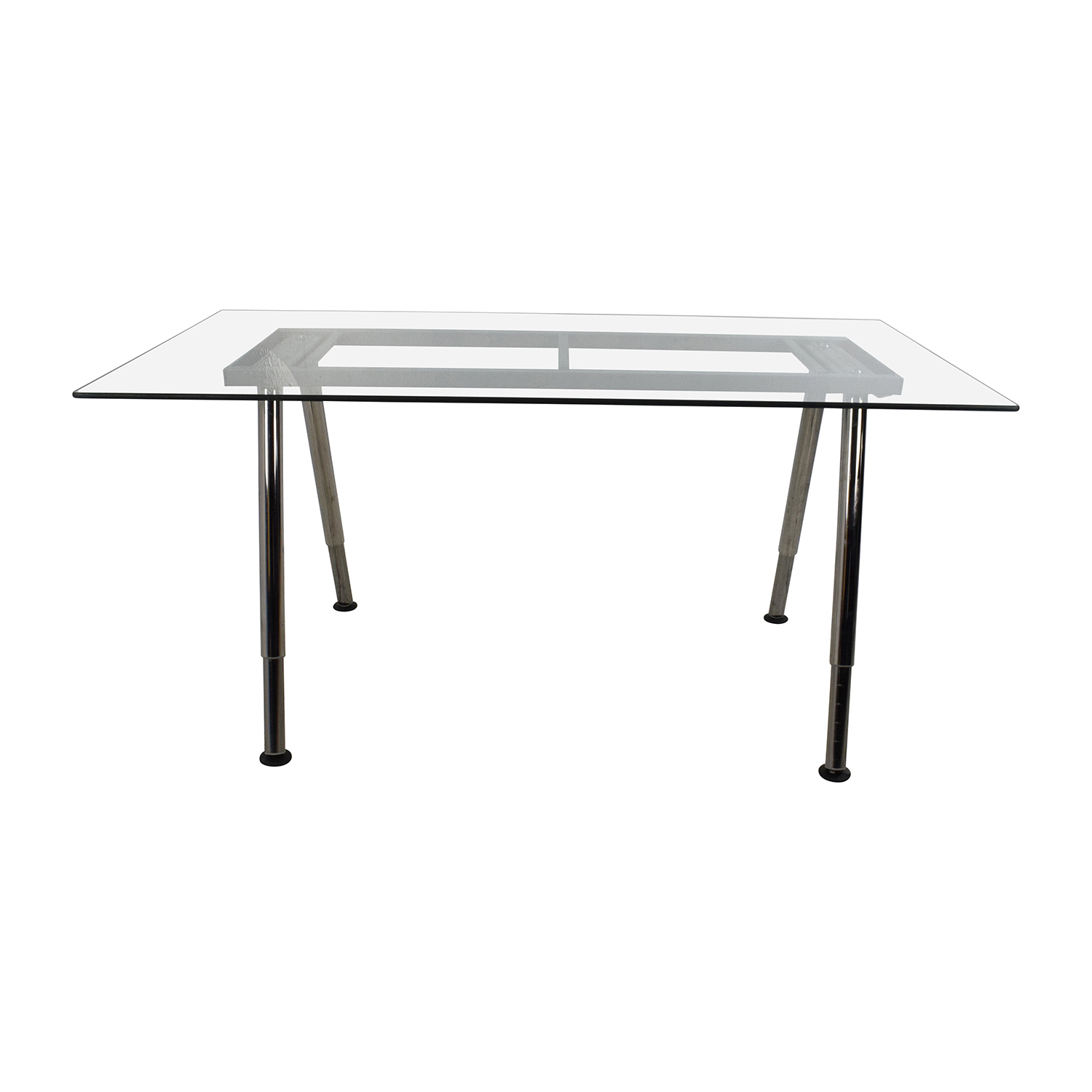 With Glass Top Metal Base. Table Bases 55 Glass Top Dining Tables Inside Parsons Grey Solid Surface Top & Stainless Steel Base 48X16 Console Tables (Gallery 19 of 20)