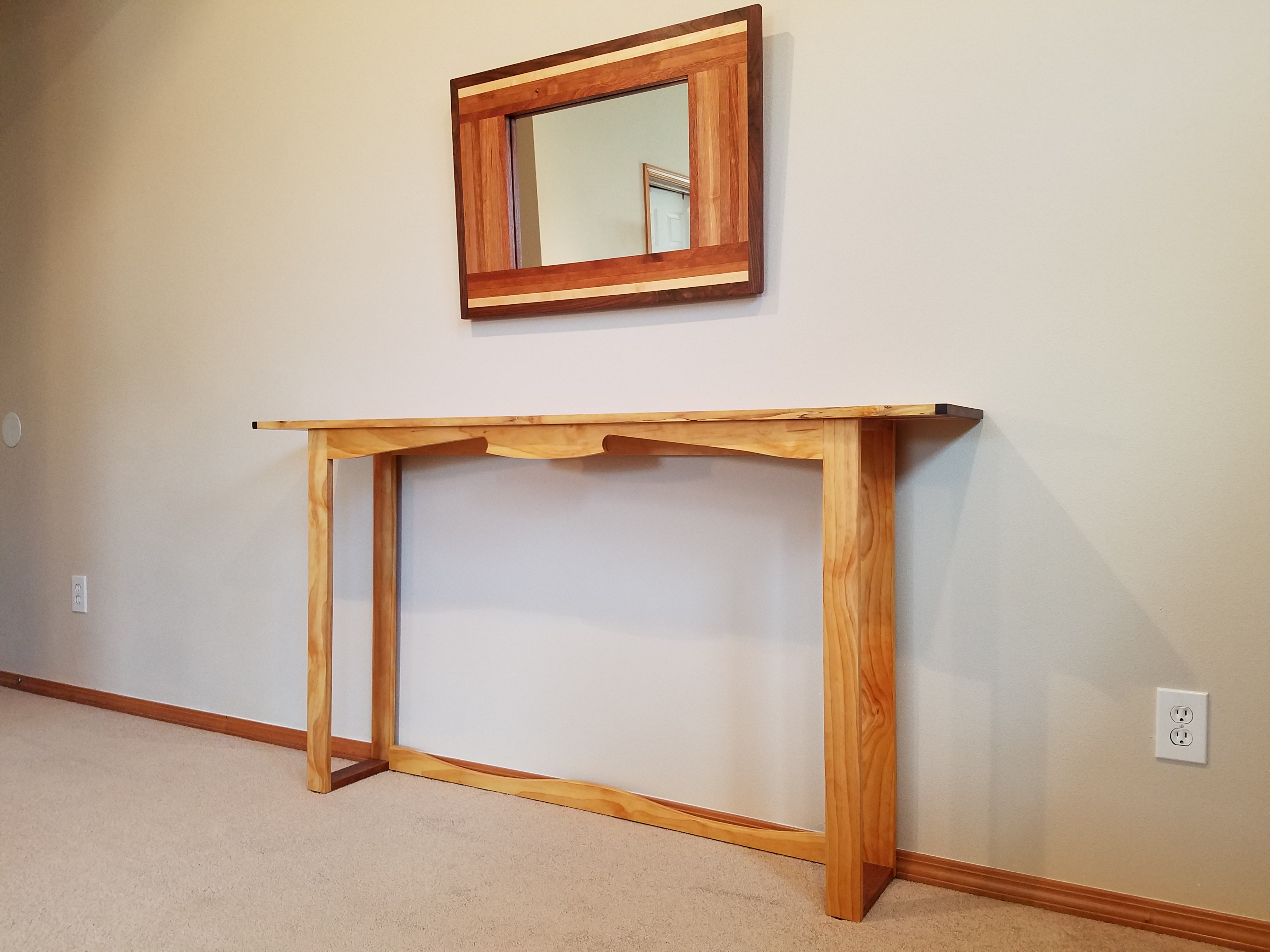Wood Console Table With A Live Edge And Mirror — Handmade Natural Intended For Natural Wood Mirrored Media Console Tables (View 11 of 20)
