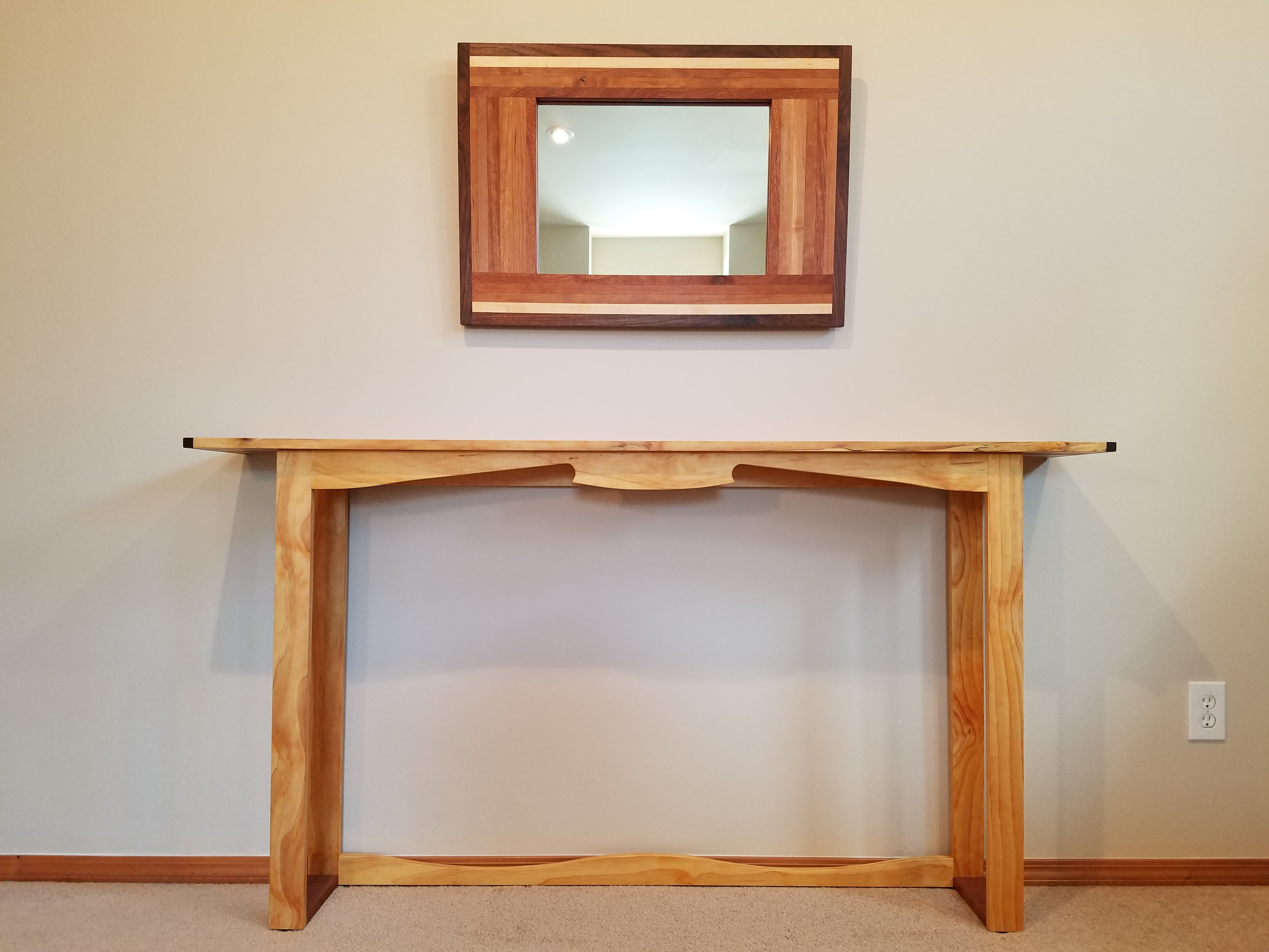 Wood Console Table With A Live Edge And Mirror — Handmade Natural Within Natural Wood Mirrored Media Console Tables (View 6 of 20)