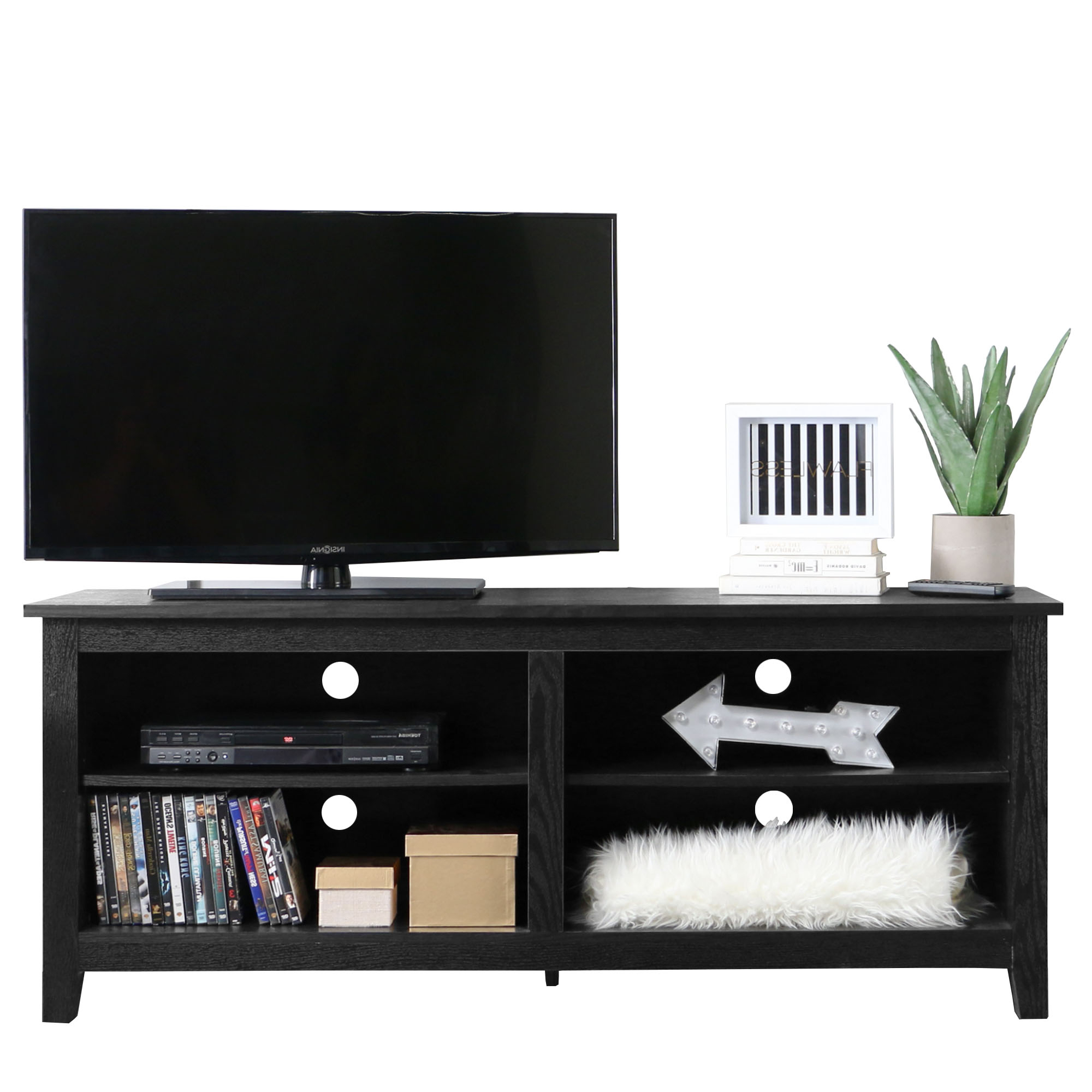 "Wood Tv Stand For Tvs Up To 60"", Multiple Finishes – Walmart Throughout Rowan 45 Inch Tv Stands (View 12 of 20)"