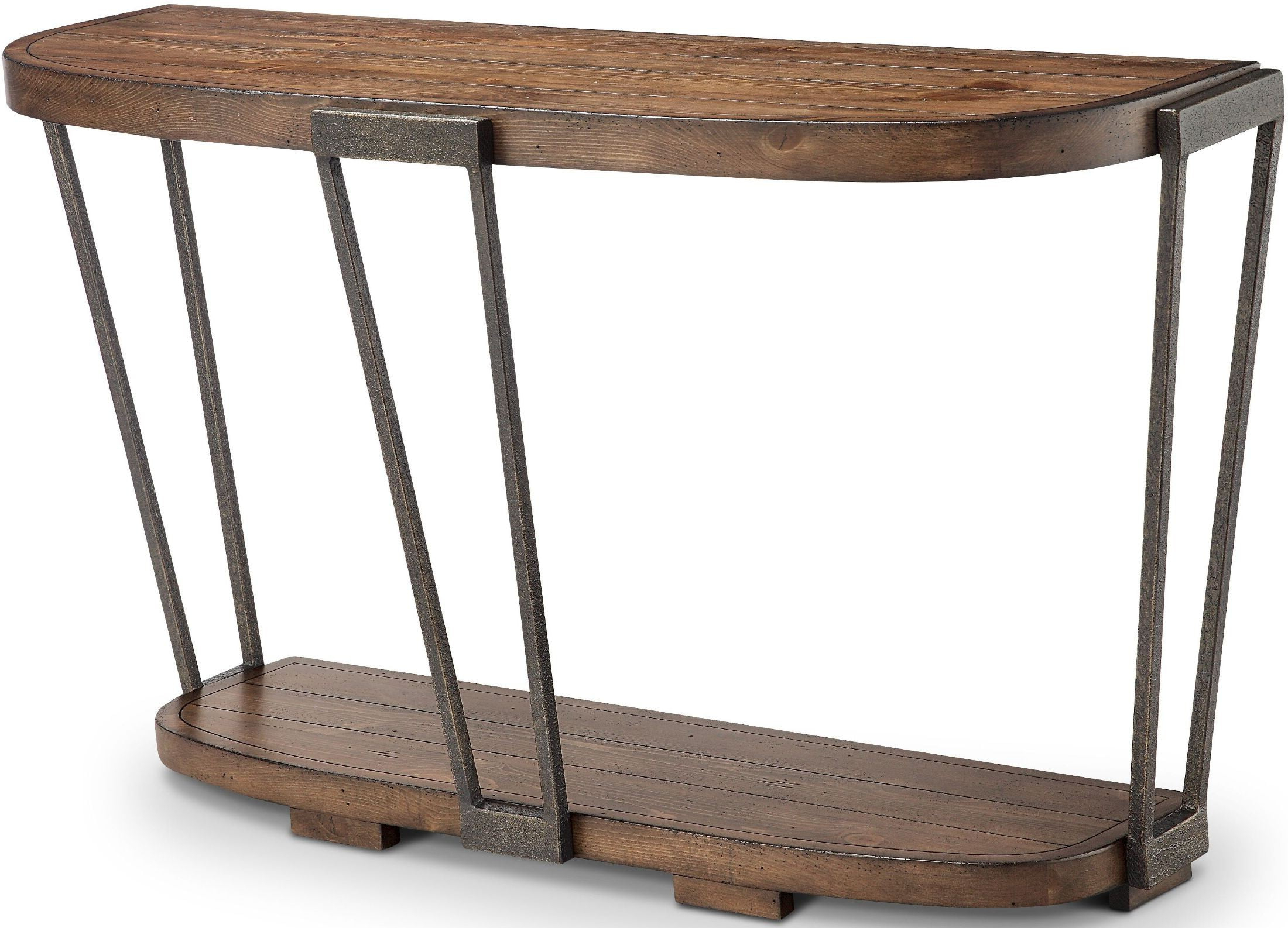 Yukon Bourbon And Aged Iron Demilune Sofa Table From Magnussen Home In Yukon Natural Console Tables (View 12 of 20)