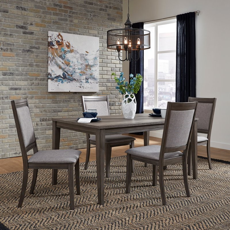 2019 5 Piece Dining Sets Regarding Gray Urban Modern 5 Piece Dining Set With Upholstered Chairs (View 1 of 20)