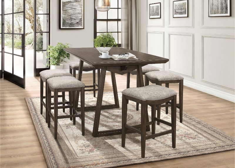 2019 7 Pc Kirke Brown Finish Wood Fabric Padded Stools Mid Century Modern  Counter Height Dining Table Set With Linette 5 Piece Dining Table Sets (Gallery 4 of 20)