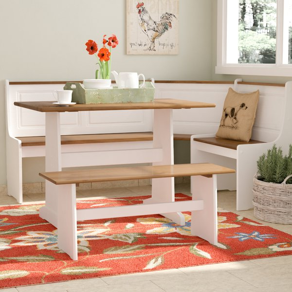 2019 August Grove Birtie 3 Piece Solid Wood Breakfast Nook Dining Set Inside 3 Piece Breakfast Nook Dinning Set (View 1 of 20)