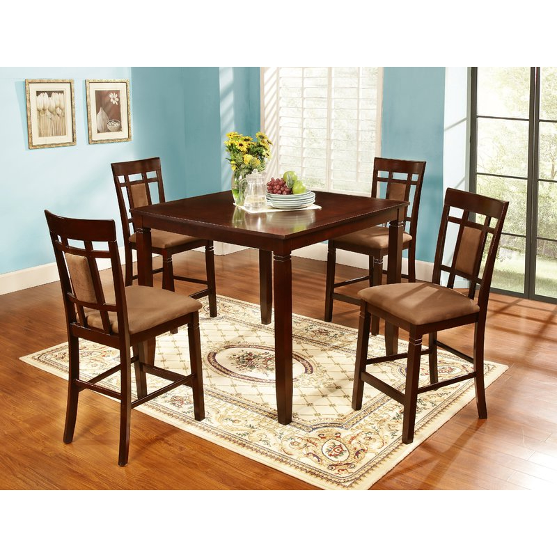 2019 Biggs 5 Piece Counter Height Solid Wood Dining Sets (Set Of 5) With Nathanielhome 5 Piece Counter Height Dining Set & Reviews (Gallery 12 of 20)