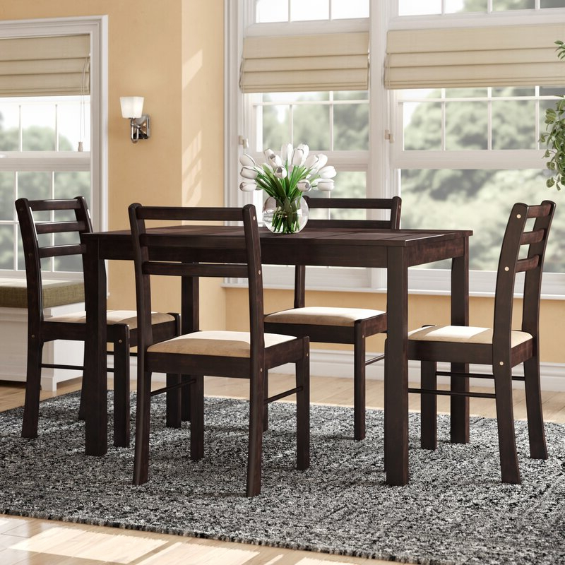 2019 Ganya 5 Piece Dining Sets Throughout Winston Porter Portal 5 Piece Dining Set & Reviews (Gallery 6 of 20)