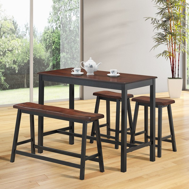 2019 Kerley 4 Piece Dining Sets For Millwood Pines Castillo 4 Piece Breakfast Nook Dining Set & Reviews (View 1 of 20)