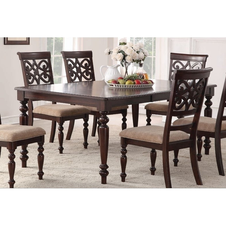 2019 Laconia 7 Pieces Solid Wood Dining Sets (Set Of 7) Inside Shop Home Source Laconia Walnut 7 Piece Dining Set – Free Shipping (Gallery 5 of 20)