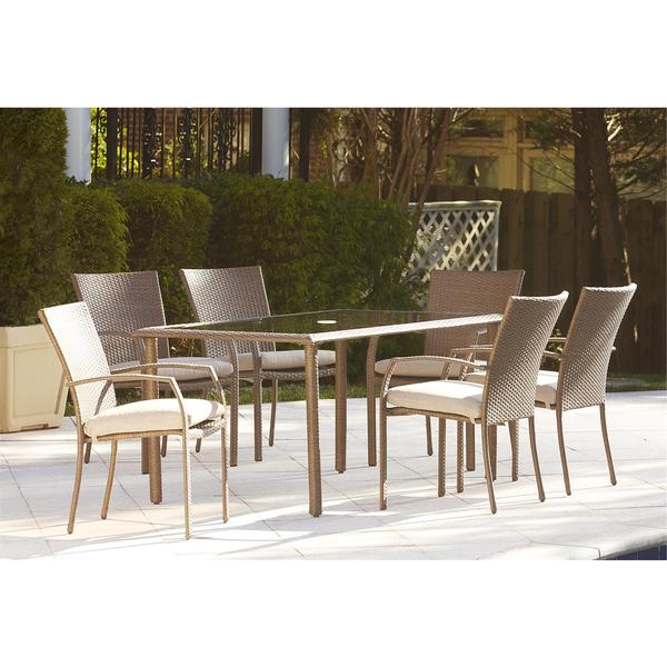2019 Shop Cosco Outdoor 7 Piece Steel Woven Wicker Patio Dining Set With Regard To Saintcroix 3 Piece Dining Sets (View 10 of 20)