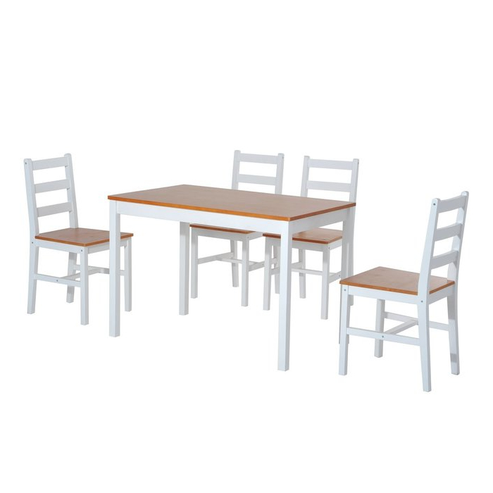 2019 Yedinak 5 Piece Solid Wood Dining Sets Inside Winston Porter Yedinak 5 Piece Solid Wood Dining Set & Reviews (View 2 of 20)