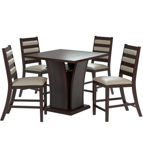 2020 Corliving Bistro 5 Piece Counter Height Cappuccino Dining Set With Regarding Biggs 5 Piece Counter Height Solid Wood Dining Sets (Set Of 5) (View 2 of 20)