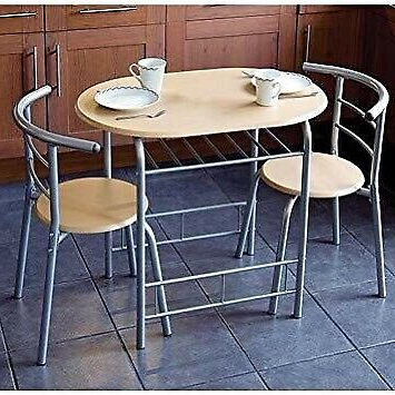 2020 Lonon 3 Piece Dining Sets In Compact 3 Piece Dining Table And Chairs Breakfast, Kitchen, Bistro (Gallery 4 of 20)