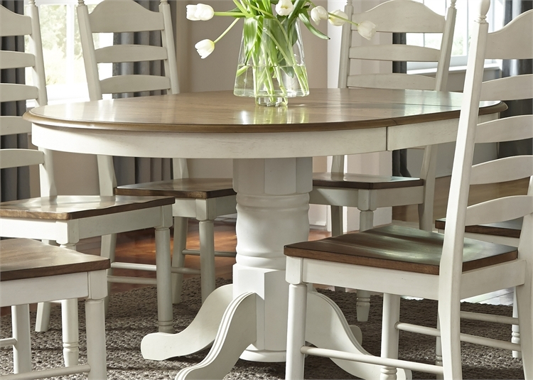 2020 Springfield Pedestal Table 7 Piece Dining Set In Two Tone Honey Throughout Springfield 3 Piece Dining Sets (View 2 of 20)
