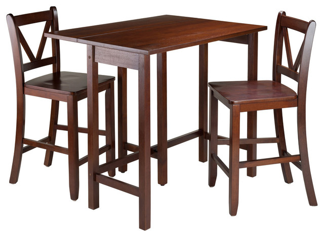 2020 Winsome Wood Lynnwood 3 Piece Drop Leaf Table With 2 Counter V Back For Winsome 3 Piece Counter Height Dining Sets (View 16 of 20)