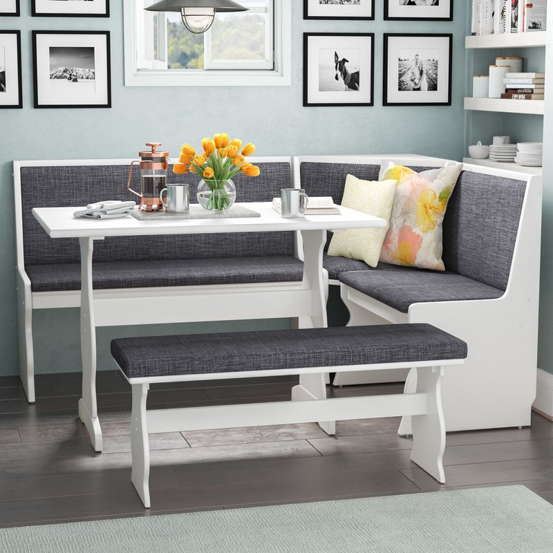 3 Pc Gray White Top Breakfast Nook Dining Set Corner Booth Bench Regarding Favorite 3 Piece Breakfast Nook Dinning Set (View 3 of 20)
