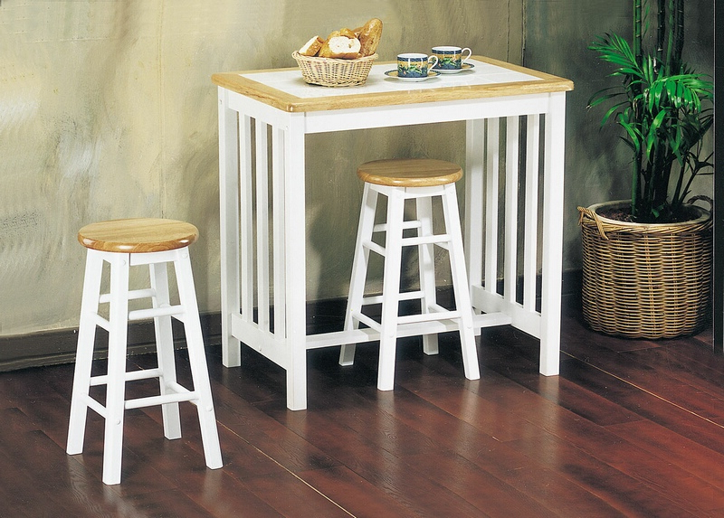 3 Piece Breakfast Dining Sets Intended For Most Up To Date 02140nw 3 Pc Metro Natural And White Finish Wood Counter Height (View 14 of 20)