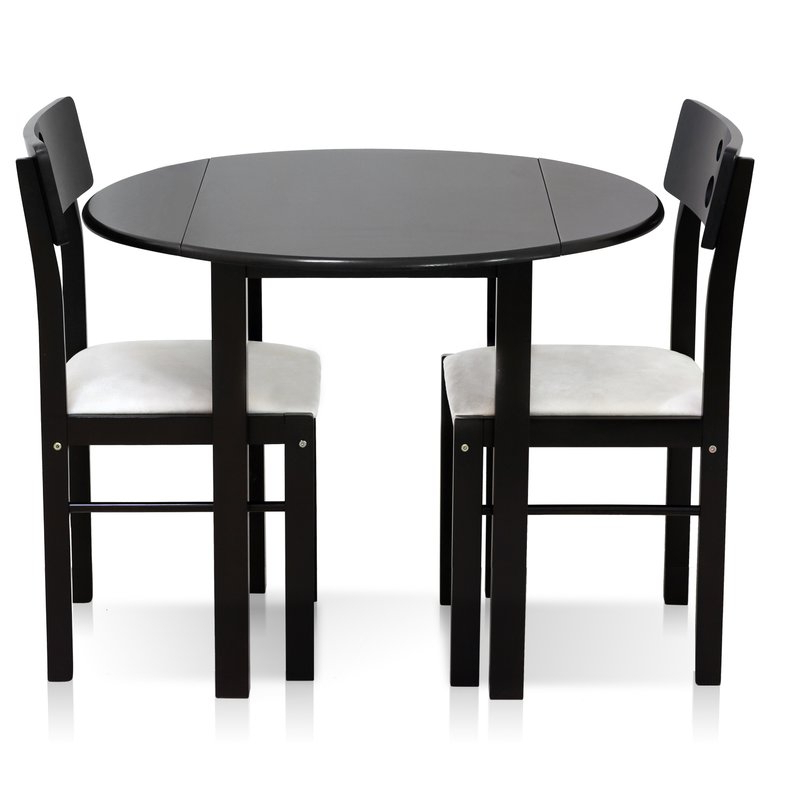 3 Piece Dining Sets In Well Known Ebern Designs Frankel Cos Drop Leaf Solid Wood 3 Piece Dining Set (View 7 of 20)