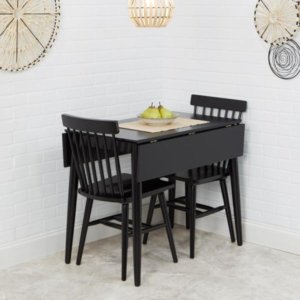 3 Piece Dining Sets Within Most Recently Released Silverwood Furniture Reimagined Connor 3 Piece Black Drop Leaf (View 13 of 20)