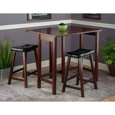 3 Piece Lynnwood Set Drop Leaf High Table With Cushion Counter For Fashionable Bettencourt 3 Piece Counter Height Solid Wood Dining Sets (View 3 of 20)