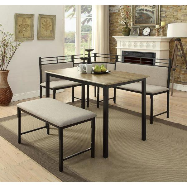 4D Concepts Boltzero 3 Piece Black And Tan Corner Dining Nook Set With Best And Newest Bedfo 3 Piece Dining Sets (Gallery 9 of 20)