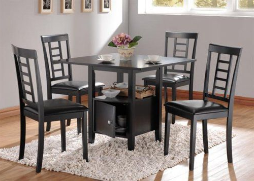 A19000 – Drew Black Finish Strorage Dining Table + 4 Chairs In Most Up To Date Ganya 5 Piece Dining Sets (Gallery 9 of 20)
