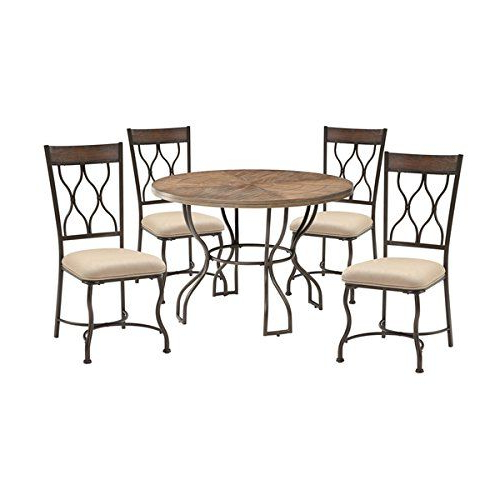 Acme Furniture Hansa 5 Piece Dining Set, Oak And Antique Black With Regard To Latest Ganya 5 Piece Dining Sets (View 5 of 20)