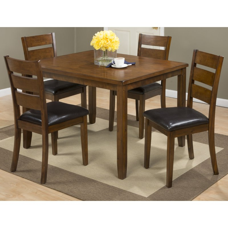 Adan 5 Piece Solid Wood Dining Sets (Set Of 5) Pertaining To Fashionable Millwood Pines Amir 5 Piece Solid Wood Dining Set (View 3 of 20)