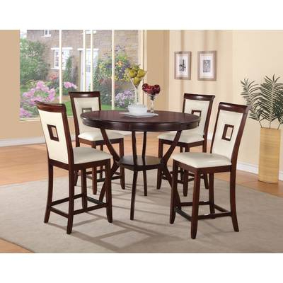 Alcott Hill Biggs 5 Piece Counter Height Solid Wood Dining Set (View 4 of 20)