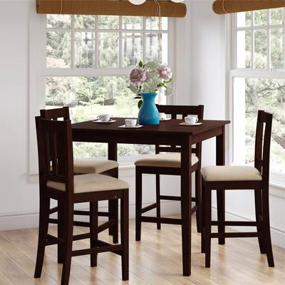 Alcott Hill Biggs 5 Piece Counter Height Solid Wood Dining Set (Gallery 7 of 20)