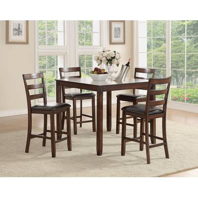Alcott Hill Biggs 5 Piece Counter Height Solid Wood Dining Set (View 3 of 20)