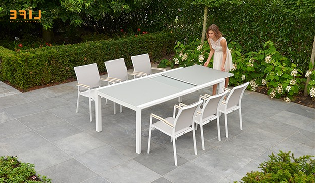 Anabel Dining Extendable White – Life Outdoor Living For Current Osterman 6 Piece Extendable Dining Sets (Set Of 6) (View 1 of 20)