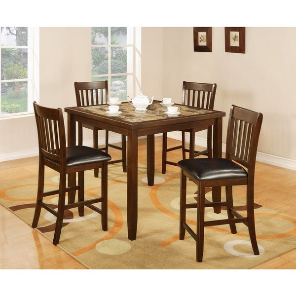 Aria 5 Piece Dining Sets Regarding Well Liked Shop Zoho Dark Cappuccino Finish Wood Aritifical Marble Top Counter (Gallery 18 of 20)